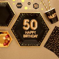 Glitz & Glamour Black & Gold Large Plates 50th (8)
